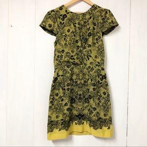 Topshop Yellow & Black Floral Print Mini Dress
